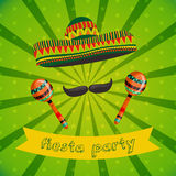 Mexican Fiesta Party Invitation with maracas, sombrero and mustache. Hand drawn vector illustration Royalty Free Stock Image
