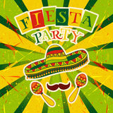 Mexican Fiesta Party Invitation with maracas, sombrero and mustache. Hand drawn vector illustration poster. With grunge background vector illustration