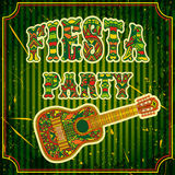 Mexican Fiesta Party Invitation with mexican guitar and colorful ethnic tribal ornate title. Hand drawn vector illustration poster. With grunge background Royalty Free Stock Photography