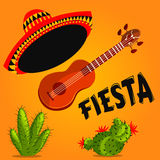 Mexican Fiesta Party Invitation with mexican guitar, sombrero and cactuses. Hand drawn vector illustration poster. Flyer or greeting card template Stock Photography