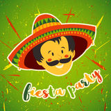Mexican Fiesta Party Invitation with Mexican man with mustache and in sombrero. Hand drawn vector illustration poster. Flyer or greeting card template stock illustration