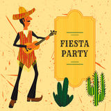 Mexican Fiesta Party Invitation with Mexican man playing the guitar in a sombrero and cactuses. Hand drawn vector illustration. Poster with grunge background stock illustration