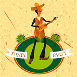 Mexican Fiesta Party Invitation with Mexican man playing the guitar in a sombrero and cactuses. Hand drawn vector illustration. Poster with grunge background royalty free illustration