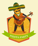 Mexican Fiesta Party Invitation with Mexican man playing the guitar in a sombrero. Hand drawn vector illustration poster. Flyer or greeting card template stock illustration