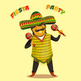 Mexican Fiesta Party Invitation with Mexican man playing the maracas in a sombrero. Hand drawn vector illustration poster. Flyer or greeting card template Royalty Free Stock Photos