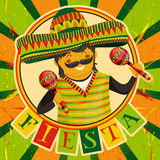 Mexican Fiesta Party Invitation with Mexican man playing the maracas in a sombrero. Hand drawn vector illustration poster. Stock Photo