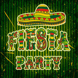Mexican Fiesta Party Invitation with sombrero and colorful ethnic tribal ornate title. Hand drawn vector illustration poster with. Grunge background. Flyer or Royalty Free Stock Photos