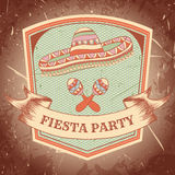 Mexican Fiesta Party label with maracas, sombrero .Hand drawn vector illustration poster with grunge background. Stock Photo