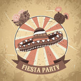 Mexican Fiesta Party label with sombrero and cactuses .Hand drawn vector illustration poster with grunge background. Stock Photo