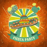 Mexican Fiesta Party label with sombrero and cactuses .Hand drawn vector illustration poster with grunge background. Royalty Free Stock Photo