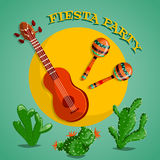 Mexican Fiesta Party poster with maracas, mexican guitar and cactuses. Flyer or greeting card template. Vector illustration Stock Photos
