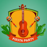 Mexican Fiesta Party poster with maracas, mexican guitar and cactuses. Flyer or greeting card template. Vector illustration Stock Photo