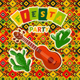 Mexican Fiesta Party poster with mexican guitar and cactuses.. Flyer or greeting card template with geometric background. Vector illustration Stock Images