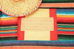 Mexican fiesta poncho frame sombrero Stock Photos