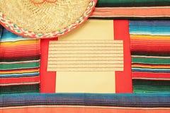 Mexican fiesta poncho frame sombrero Stock Photos