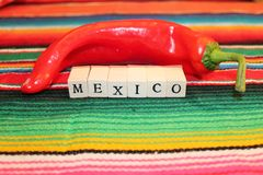 Mexican fiesta poncho rug in bright colors with sombrero Stock Photos