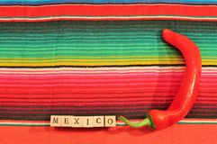 Mexican fiesta poncho rug word chilli text frame. Mexican fiesta poncho rug in bright colors with word Mexico background with copy space and chilli Stock Images