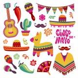 Mexican fiesta set. Cinco de mayo party elements sombrero, pinata and chili pepper, guitar vector collection vector illustration