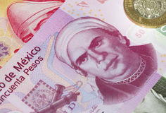 Mexican Fifty Peso Plastic Bill. New 50 peso mexican bill made from plastic aside from other peso bills Stock Images