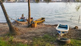 Mexican Fishing boats. Fishing boats on a river at Tuxpan, Veracruz state in Mexico royalty free stock images