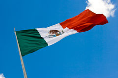 Mexican flag 2. Green, white and red Mexican flag waving royalty free stock image