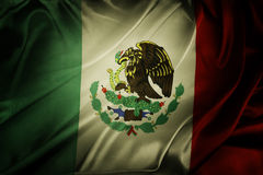 Mexican flag. Closeup of grunge Mexican flag stock image