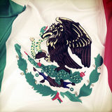 Mexican flag. Closeup of ruffled Mexican flag royalty free stock photography