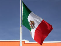 Mexican Flag. The Mexican Flag blowing in the wind royalty free stock photos