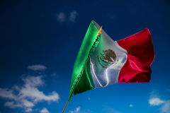 Mexican flag against a night sky, independence day, cinco de may royalty free stock photos