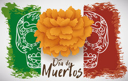 Mexican Flag in Brushstrokes with Marigold  Stock Images