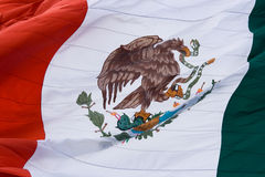 Mexican flag, close up. Green, white and red Mexican flag waving stock images