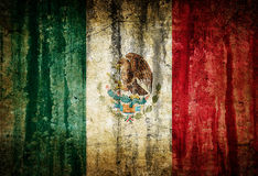 Mexican flag. Dirty vintage flag of Mexico painted on old wall royalty free stock images