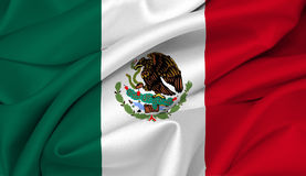 Mexican flag - Mexico. Mexican flag waving on satin texture vector illustration