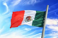 Mexican flag. Flag of Mexico against the background of the sky stock images