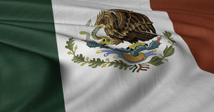 Mexican Flag. North America. Flag of Mexico fluttering in strong wind Stock Image