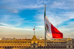 Mexican Flag Presidential National Palace Balcony Monument Mexico City Mexico royalty free stock image