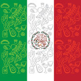 Mexican Flag with traditional elements of culture Royalty Free Stock Image