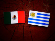 Mexican flag with Uruguaian flag on a tree stump isolated royalty free stock photography