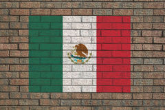 Mexican flag on wall Royalty Free Stock Images
