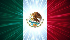 Mexican Flag With Light Rays Stock Image