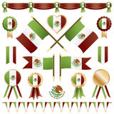 Mexican flags and rosettes Royalty Free Stock Images