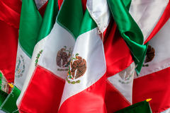 Mexican Flags. In a street market stock images