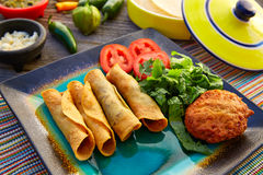 Mexican flautas rolled tacos with salsa Royalty Free Stock Images