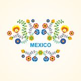 Mexican ethnic  flower frame - border design. Mexican flower frame - border design with colorful  flowers frame design, suitable for wedding or party invitation Stock Images