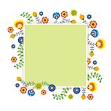 Mexican ethnic  flower frame - border design. Mexican flower frame - border design with colorful  flowers frame design, suitable for wedding or party invitation Stock Photos