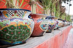 Mexican flower pots Royalty Free Stock Photography