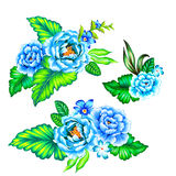 Mexican flowers bouquet. Blue roses, latin flowers. a collection of floral arrangments in ethnic mexican style with strong colors and very beautiful detailed Stock Images