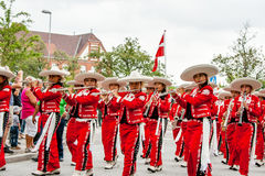 Mexican flute band parade Royalty Free Stock Images