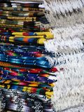 Mexican folded fringe blankets. Colorful Mexican folded fringe blankets Royalty Free Stock Images