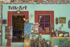Mexican folk art. Colorful facade with mexican folk art at San Miguel de Allende in the state of Guanajuato, Mexico Stock Photography